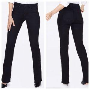 "NYDJ Barbara Bootcut Black Jeans Short 30"" Inseam"